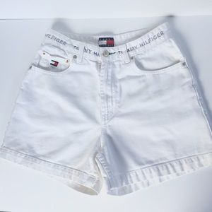 {Tommy Hilfiger} White High Waisted Shorts
